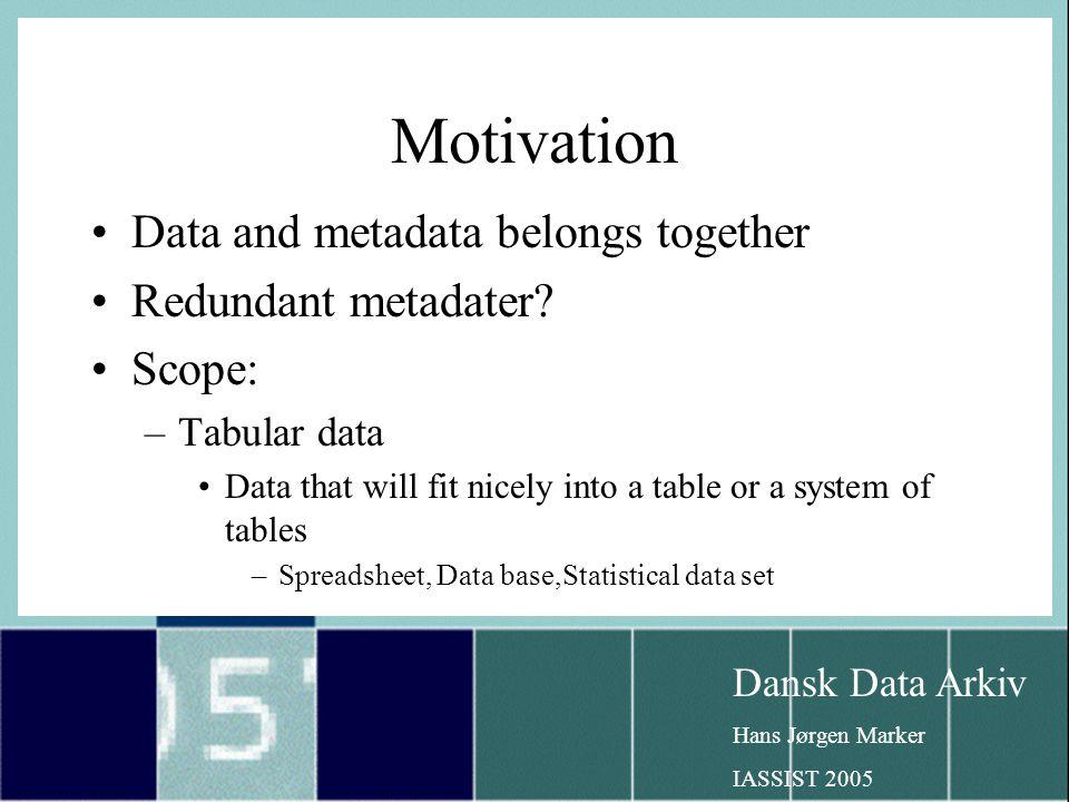 Dansk Data Arkiv Hans Jørgen Marker IASSIST 2005 Motivation Data and metadata belongs together Redundant metadater.
