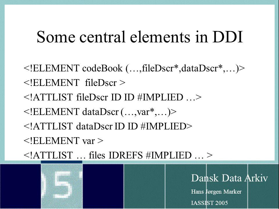Dansk Data Arkiv Hans Jørgen Marker IASSIST 2005 Some central elements in DDI