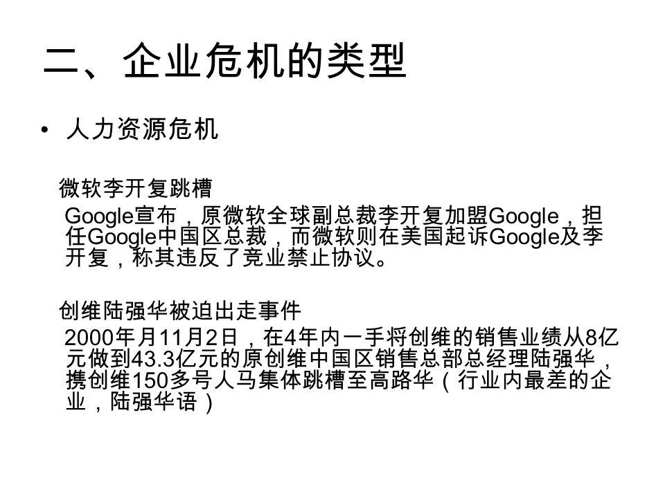 二、企业危机的类型 人力资源危机 微软李开复跳槽 Google 宣布,原微软全球副总裁李开复加盟 Google ,担 任 Google 中国区总裁,而微软则在美国起诉 Google 及李 开复,称其违反了竞业禁止协议。 创维陆强华被迫出走事件 2000 年月 11 月 2 日,在 4 年内一手将创维的销售业绩从 8 亿 元做到 43.3 亿元的原创维中国区销售总部总经理陆强华, 携创维 150 多号人马集体跳槽至高路华(行业内最差的企 业,陆强华语)
