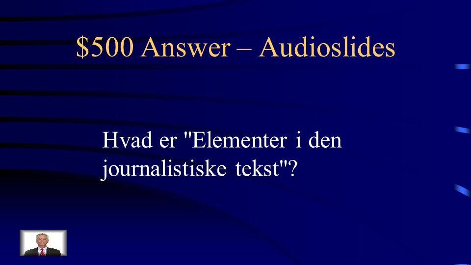 $500 Question – Audioslides Titlen på GO ONLINE sidens eksempel på en audioslide