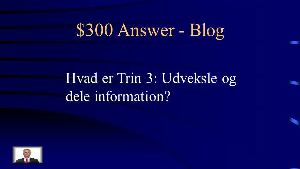 $300 Question - Blog Niveau i Salmons 5- trinsmodel hvor vi primært har brugt bloggen