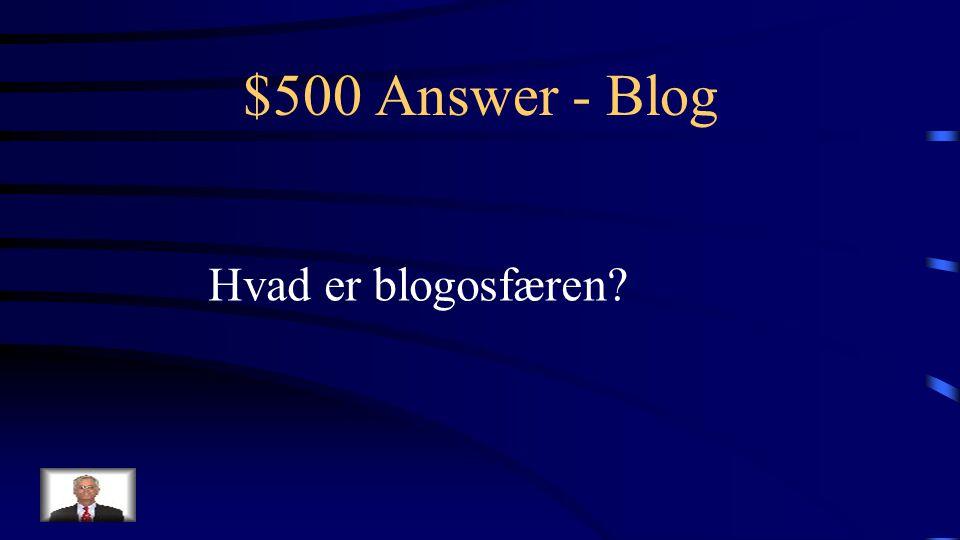 $500 Question - Blog Det samlede onlinerum omkring brugerne af og debatten i en Blog