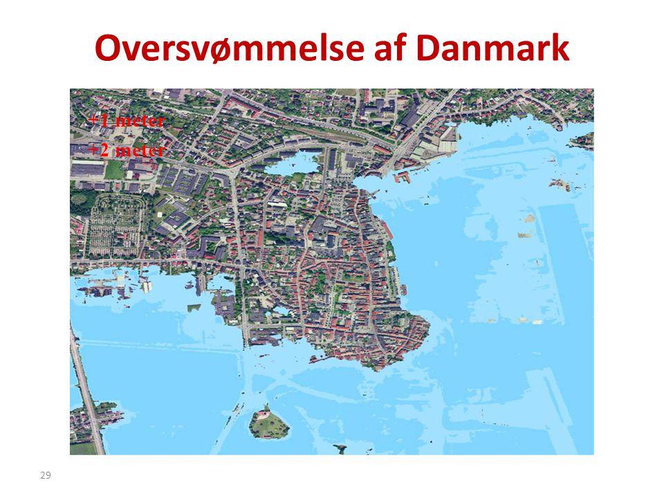29 Oversvømmelse af Danmark +1 meter +2 meter