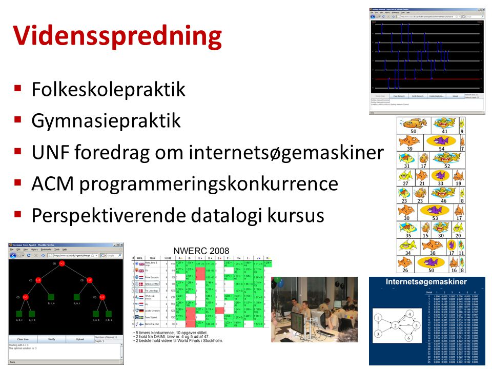  Folkeskolepraktik  Gymnasiepraktik  UNF foredrag om internetsøgemaskiner  ACM programmeringskonkurrence  Perspektiverende datalogi kursus