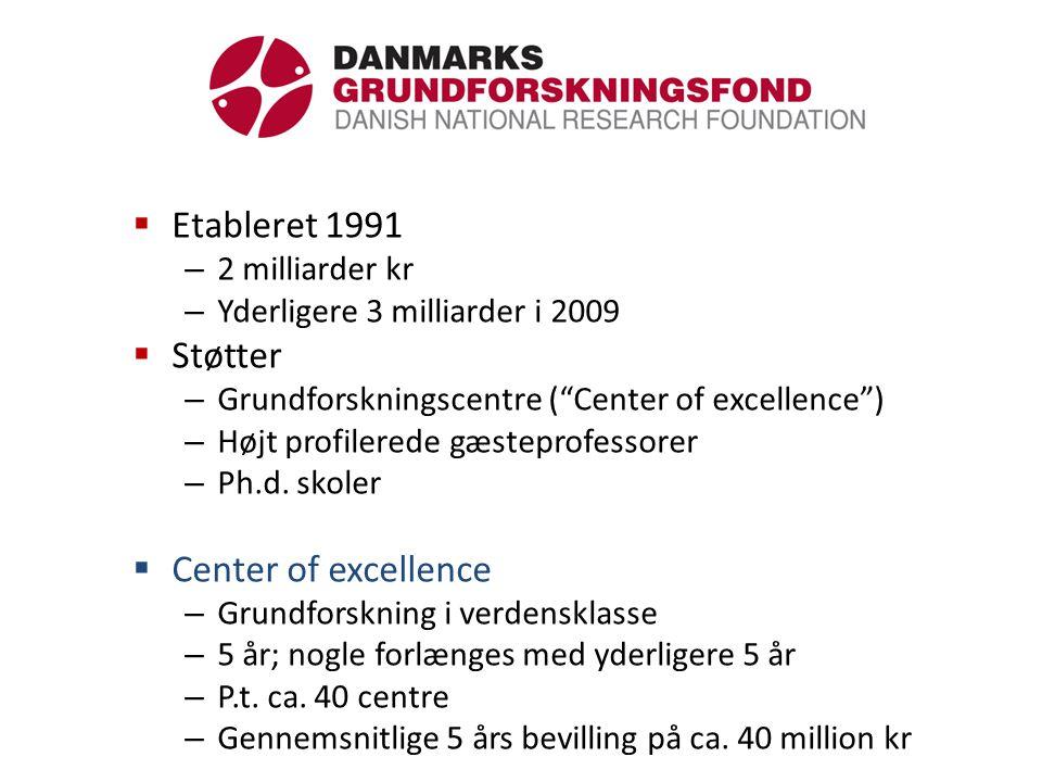  Etableret 1991 – 2 milliarder kr – Yderligere 3 milliarder i 2009  Støtter – Grundforskningscentre ( Center of excellence ) – Højt profilerede gæsteprofessorer – Ph.d.