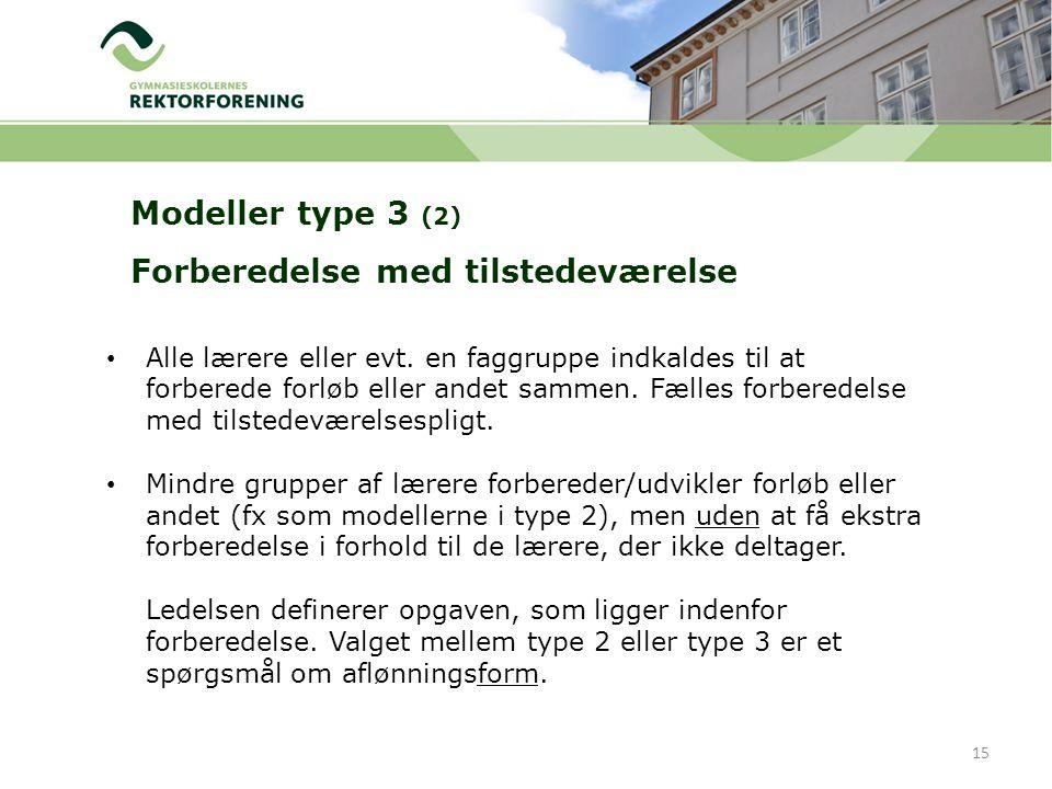 Modeller type 3 (2) Forberedelse med tilstedeværelse 15 Alle lærere eller evt.