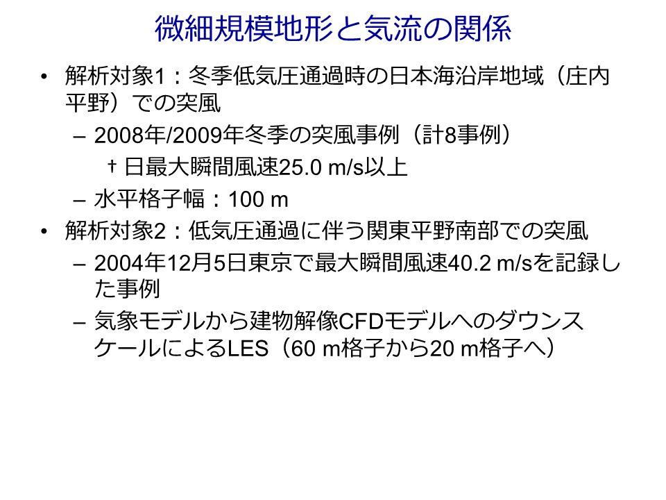 微細規模地形と気流の関係 解析対象 1 :冬季低気圧通過時の日本海沿岸地域(庄内 平野)での突風 –2008 年 /2009 年冬季の突風事例(計 8 事例) † 日最大瞬間風速 25.0 m/s 以上 – 水平格子幅: 100 m 解析対象 2 :低気圧通過に伴う関東平野南部での突風 –2004 年 12 月 5 日東京で最大瞬間風速 40.2 m/s を記録し た事例 – 気象モデルから建物解像 CFD モデルへのダウンス ケールによる LES ( 60 m 格子から 20 m 格子へ)