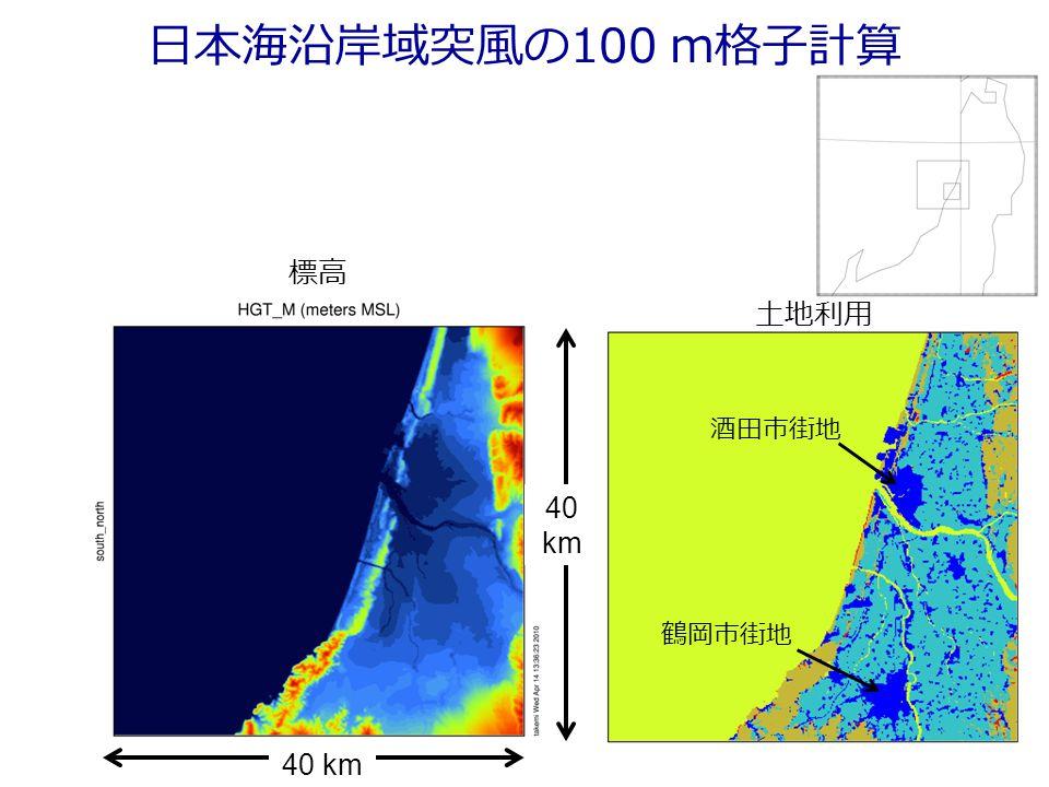 日本海沿岸域突風の100 m格子計算 標高 土地利用 40 km 酒田市街地 鶴岡市街地