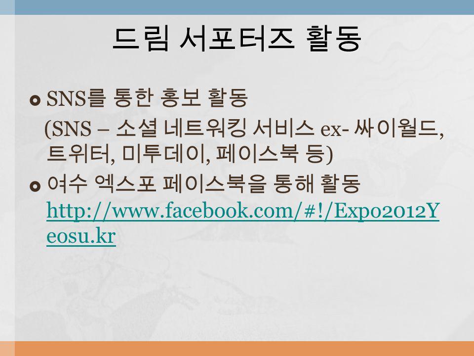  SNS 를 통한 홍보 활동 (SNS – 소셜 네트워킹 서비스 ex- 싸이월드, 트위터, 미투데이, 페이스북 등 )  여수 엑스포 페이스북을 통해 활동 http://www.facebook.com/#!/Expo2012Y eosu.kr http://www.facebook.com/#!/Expo2012Y eosu.kr 드림 서포터즈 활동