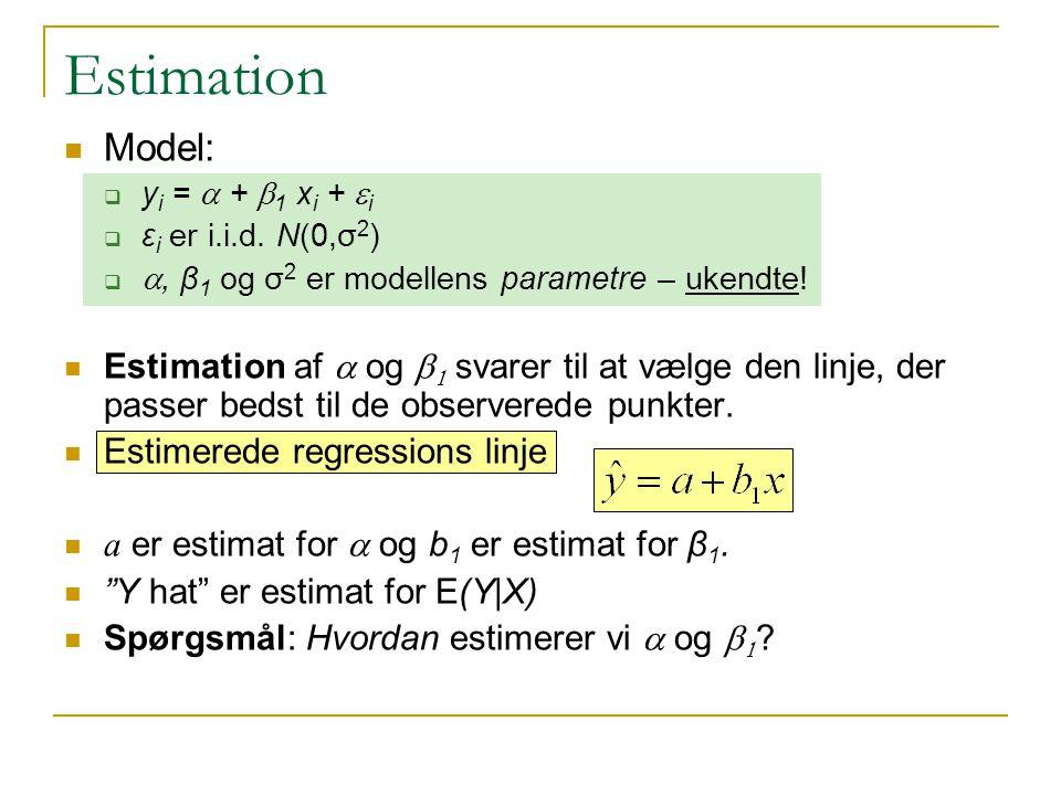Estimation Model:  y i =  +  1 x i +  i  ε i er i.i.d.
