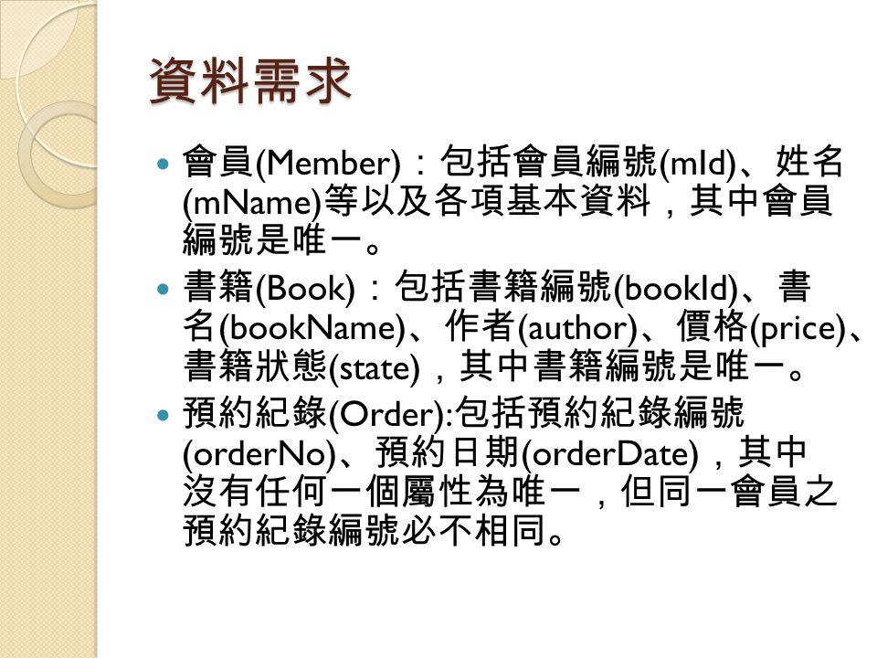 資料需求 會員 (Member) :包括會員編號 (mId) 、姓名 (mName) 等以及各項基本資料,其中會員 編號是唯一。 書籍 (Book) :包括書籍編號 (bookId) 、書 名 (bookName) 、作者 (author) 、價格 (price) 、 書籍狀態 (state) ,其中書籍編號是唯一。 預約紀錄 (Order): 包括預約紀錄編號 (orderNo) 、預約日期 (orderDate) ,其中 沒有任何一個屬性為唯一,但同一會員之 預約紀錄編號必不相同。