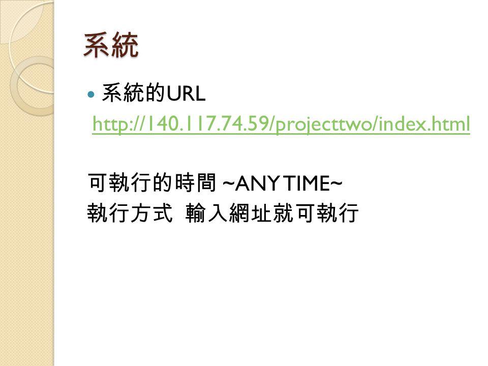 系統 系統的 URL http://140.117.74.59/projecttwo/index.html 可執行的時間 ~ANY TIME~ 執行方式 輸入網址就可執行