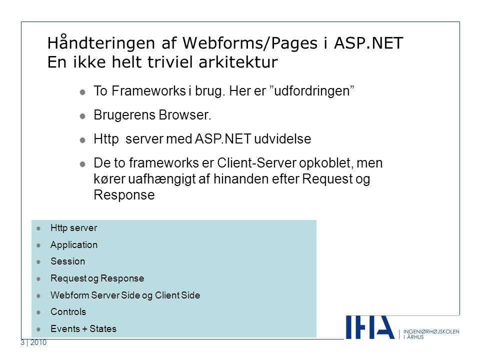 3 | 2010 Håndteringen af Webforms/Pages i ASP.NET En ikke helt triviel arkitektur To Frameworks i brug.