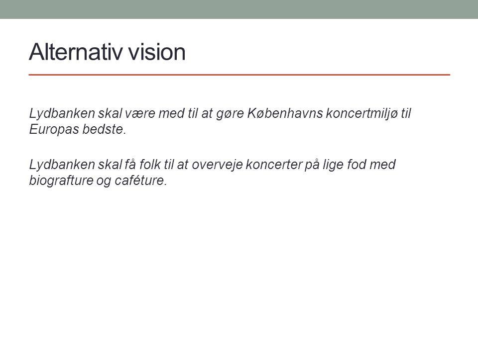 Alternativ vision Lydbanken skal være med til at gøre Københavns koncertmiljø til Europas bedste.