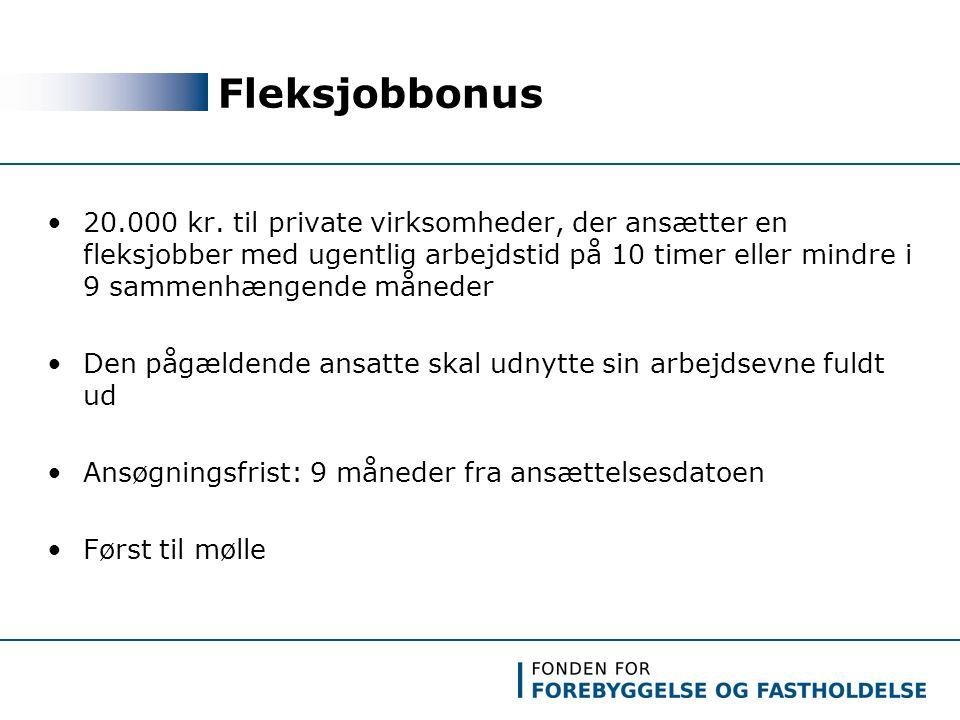 Fleksjobbonus 20.000 kr.