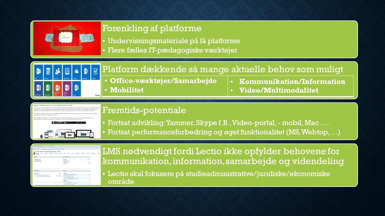 Forenkling af platforme Undervisningsmateriale på få platforme Flere fælles IT-pædagogiske værktøjer Platform dækkende så mange aktuelle behov som muligt Fremtids-potentiale Fortsat udvikling: Yammer, Skype f.B., Video-portal, - mobil, Mac…..