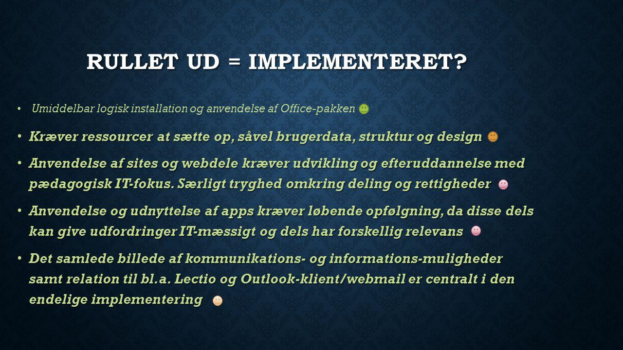 RULLET UD = IMPLEMENTERET.