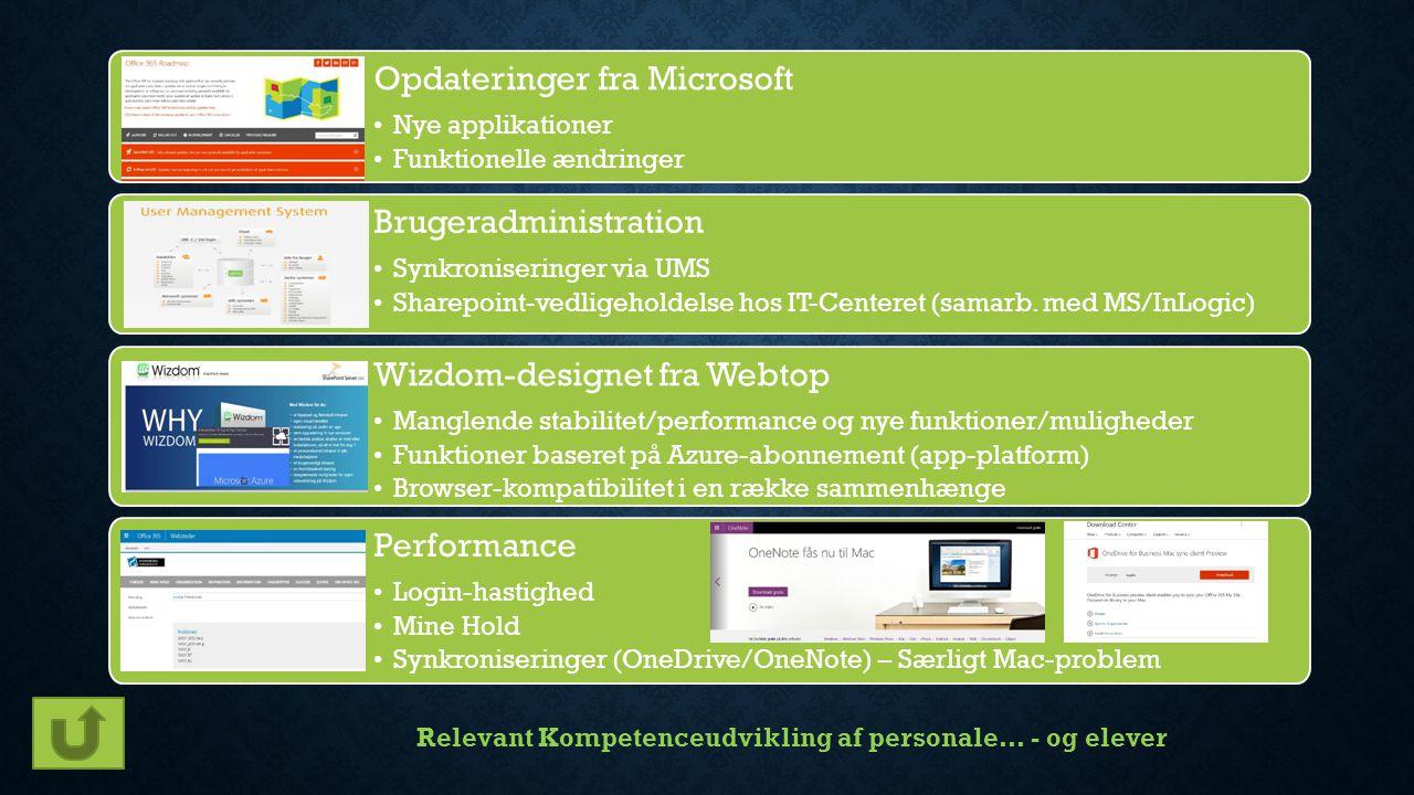 Opdateringer fra Microsoft Nye applikationer Funktionelle ændringer Brugeradministration Synkroniseringer via UMS Sharepoint-vedligeholdelse hos IT-Centeret (samarb.