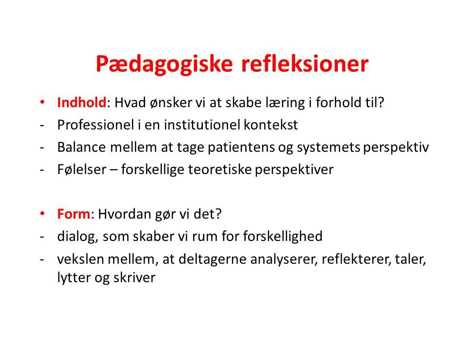 Pædagogiske refleksioner Indhold: Hvad ønsker vi at skabe læring i forhold til.