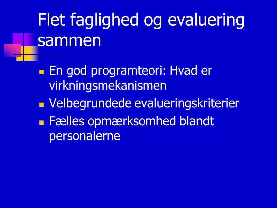 Flet faglighed og evaluering sammen En god programteori: Hvad er virkningsmekanismen Velbegrundede evalueringskriterier Fælles opmærksomhed blandt personalerne