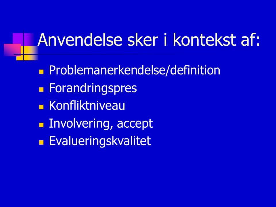 Anvendelse sker i kontekst af: Problemanerkendelse/definition Forandringspres Konfliktniveau Involvering, accept Evalueringskvalitet