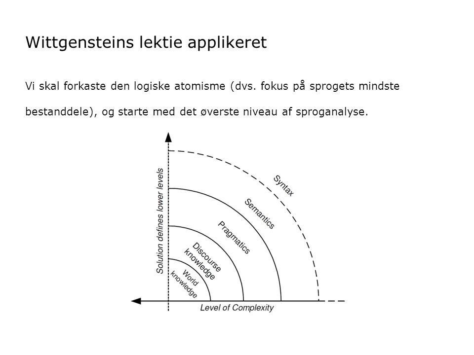 Wittgensteins lektie applikeret Vi skal forkaste den logiske atomisme (dvs.