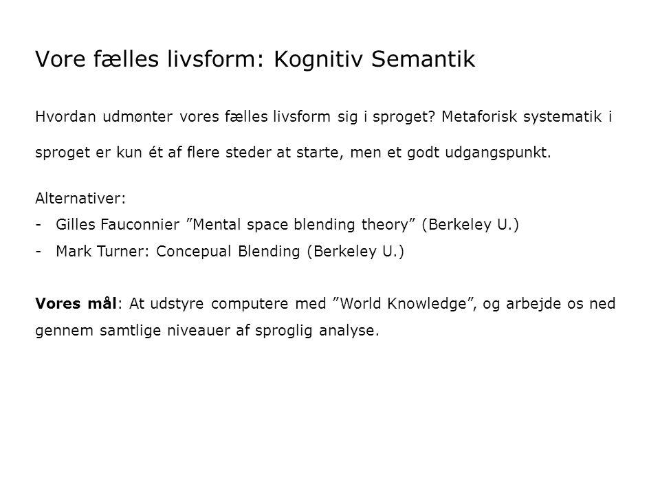 Vore fælles livsform: Kognitiv Semantik Hvordan udmønter vores fælles livsform sig i sproget.
