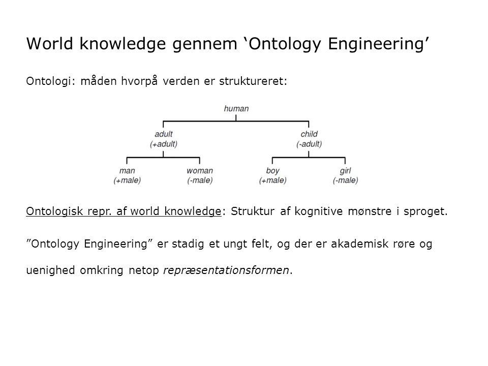 World knowledge gennem 'Ontology Engineering' Ontologi: måden hvorpå verden er struktureret: Ontologisk repr.