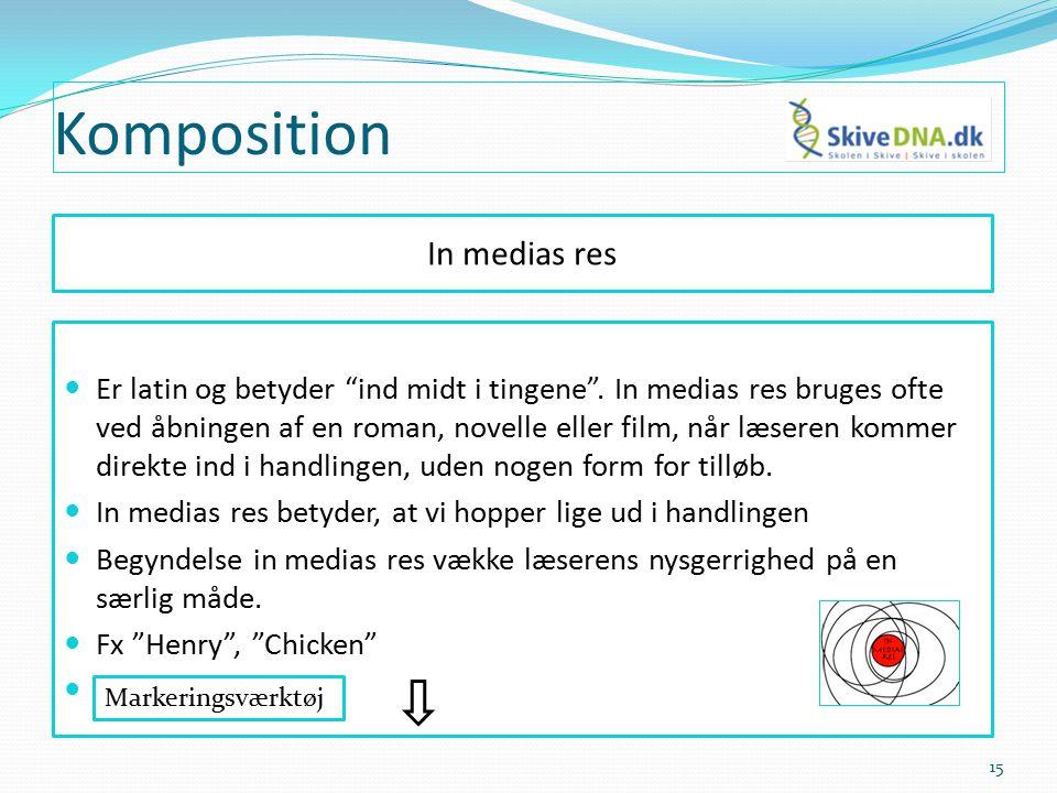 Komposition In medias res Er latin og betyder ind midt i tingene .