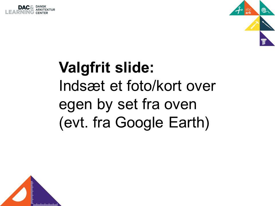 Valgfrit slide: Indsæt et foto/kort over egen by set fra oven (evt. fra Google Earth)