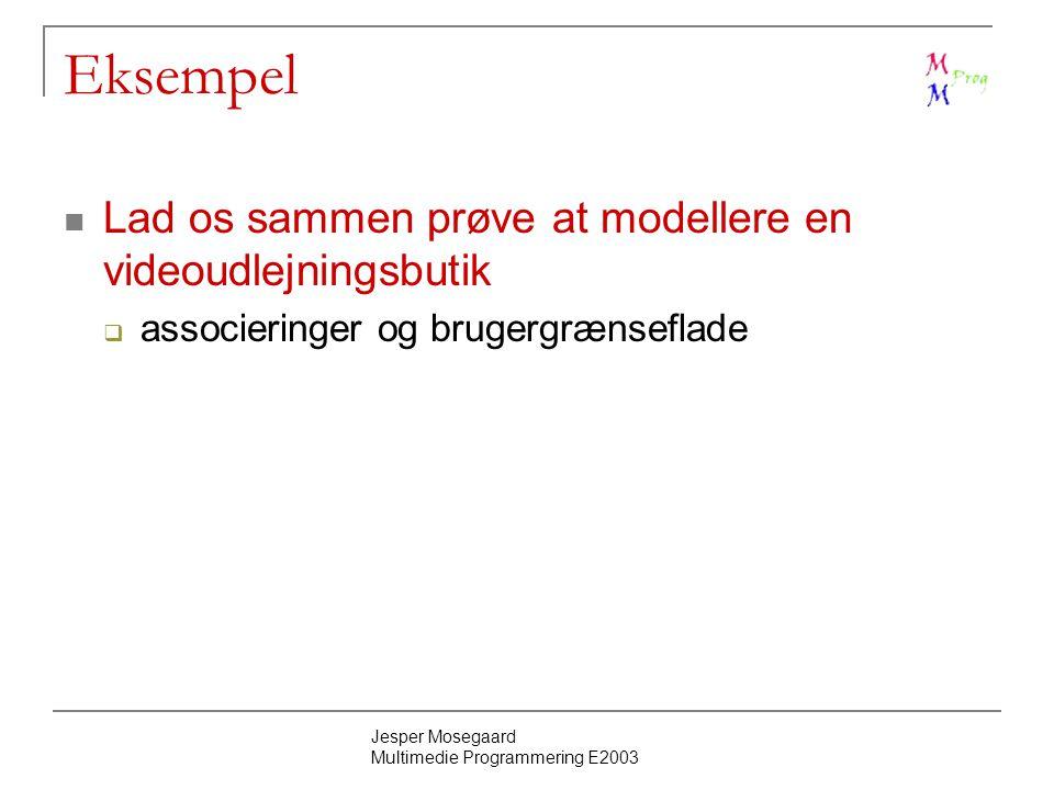 Jesper Mosegaard Multimedie Programmering E2003 Eksempel Lad os sammen prøve at modellere en videoudlejningsbutik  associeringer og brugergrænseflade