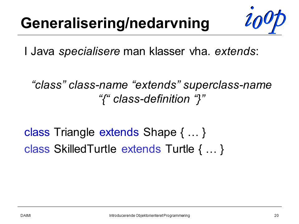 DAIMIIntroducerende Objektorienteret Programmering20 Generalisering/nedarvning  I Java specialisere man klasser vha.