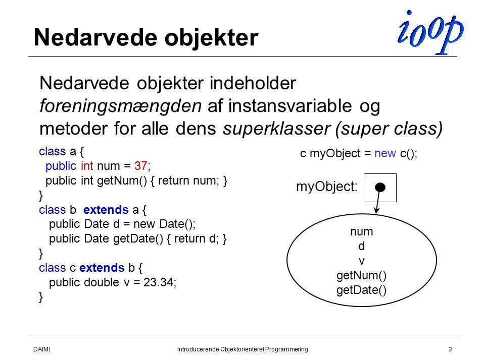 DAIMIIntroducerende Objektorienteret Programmering3 Nedarvede objekter  Nedarvede objekter indeholder foreningsmængden af instansvariable og metoder for alle dens superklasser (super class) class a { public int num = 37; public int getNum() { return num; } } class b extends a { public Date d = new Date(); public Date getDate() { return d; } } class c extends b { public double v = 23.34; } num d v getNum() getDate() c myObject = new c(); myObject: