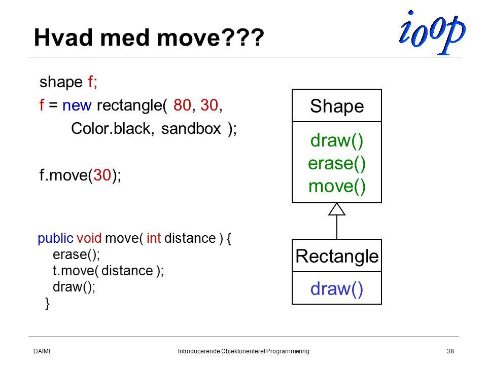 DAIMIIntroducerende Objektorienteret Programmering38 Hvad med move .