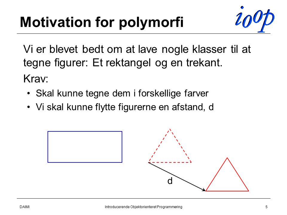 DAIMIIntroducerende Objektorienteret Programmering5 Motivation for polymorfi  Vi er blevet bedt om at lave nogle klasser til at tegne figurer: Et rektangel og en trekant.