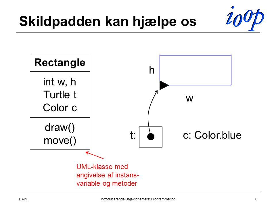 DAIMIIntroducerende Objektorienteret Programmering6 Skildpadden kan hjælpe os Rectangle int w, h Turtle t Color c draw() move() w h t:c: Color.blue UML-klasse med angivelse af instans- variable og metoder
