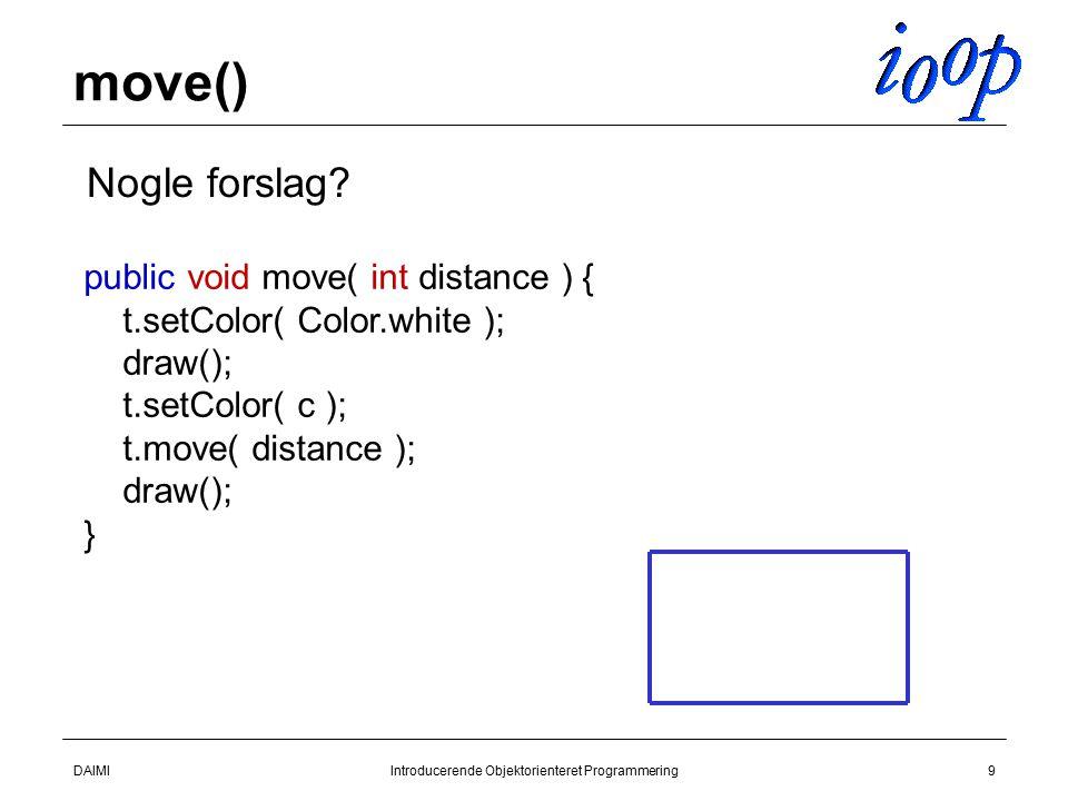 DAIMIIntroducerende Objektorienteret Programmering9 move()  Nogle forslag.