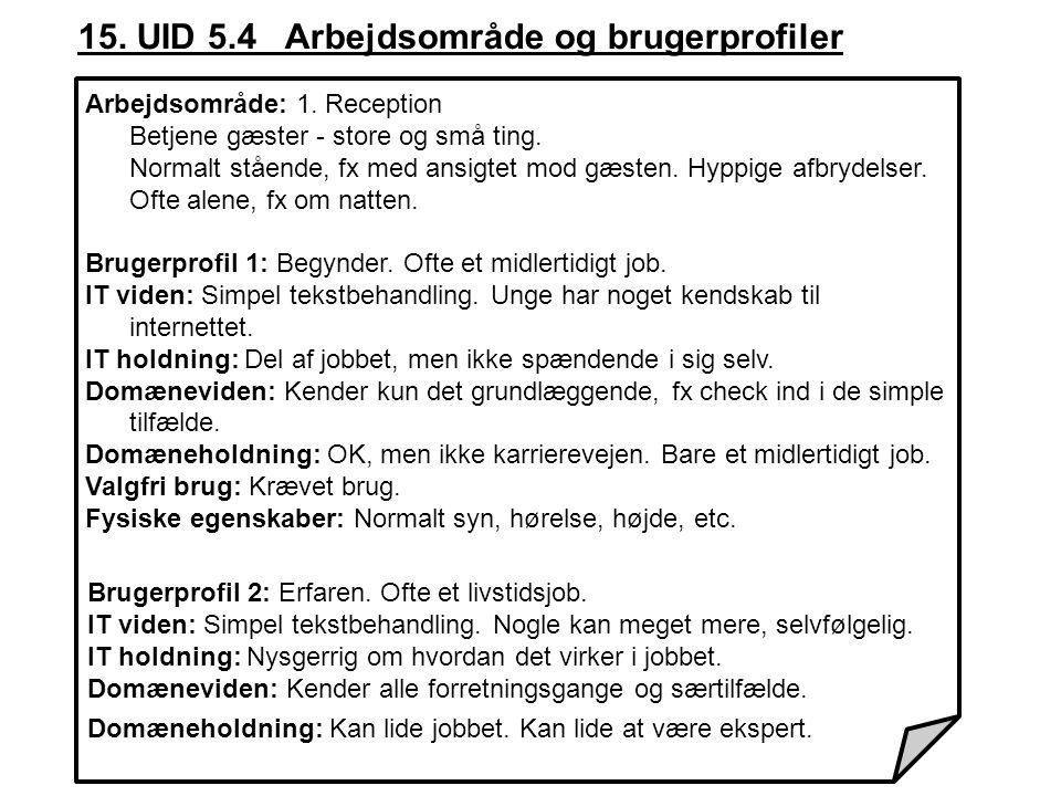 15. UID 5.4 Arbejdsområde og brugerprofiler Arbejdsområde: 1.
