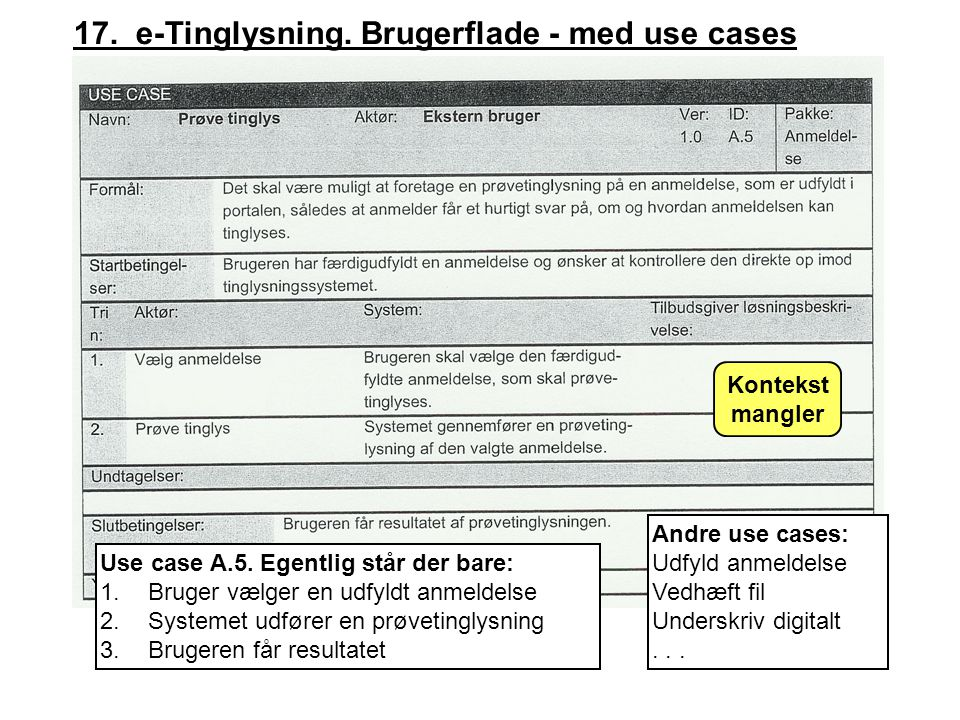 17. e-Tinglysning. Brugerflade - med use cases Use case A.5.