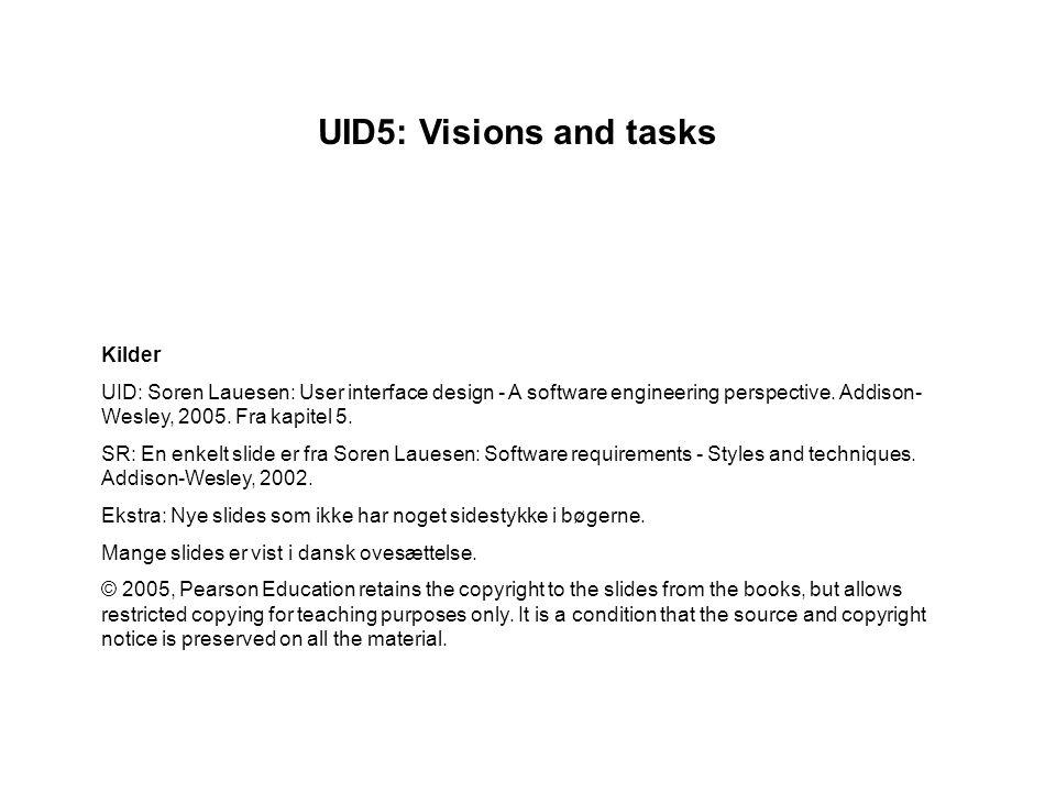UID5: Visions and tasks Kilder UID: Soren Lauesen: User interface design - A software engineering perspective.