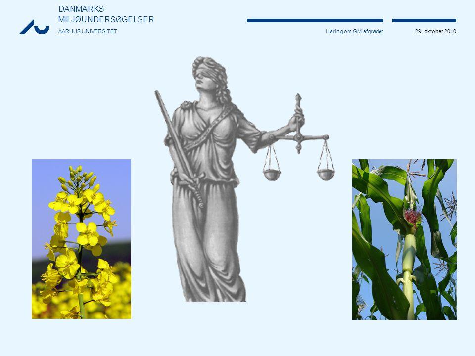 DANMARKS MILJØUNDERSØGELSER AARHUS UNIVERSITET 29. oktober 2010 Høring om GM-afgrøder