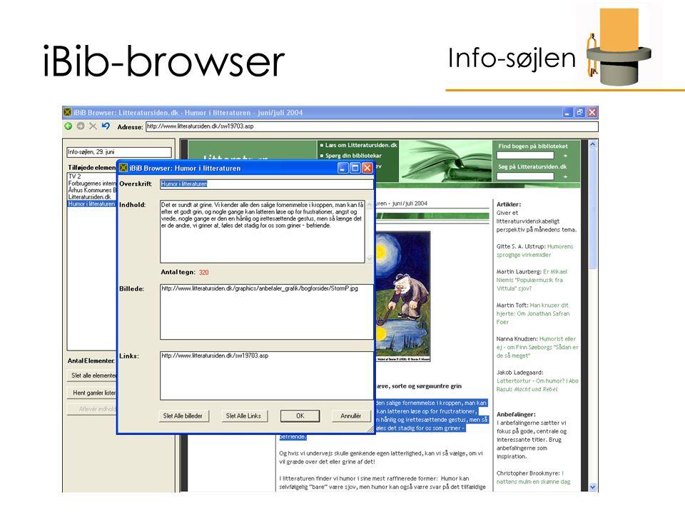 iBib-browser Info-søjlen