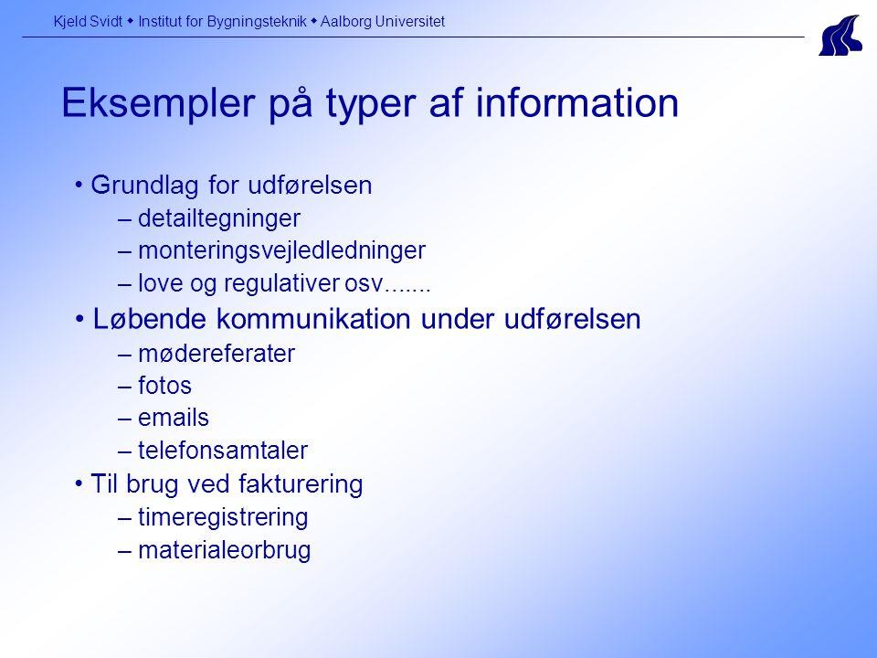 Eksempler på typer af information Kjeld Svidt  Institut for Bygningsteknik  Aalborg Universitet Grundlag for udførelsen – detailtegninger – monteringsvejledledninger – love og regulativer osv.......