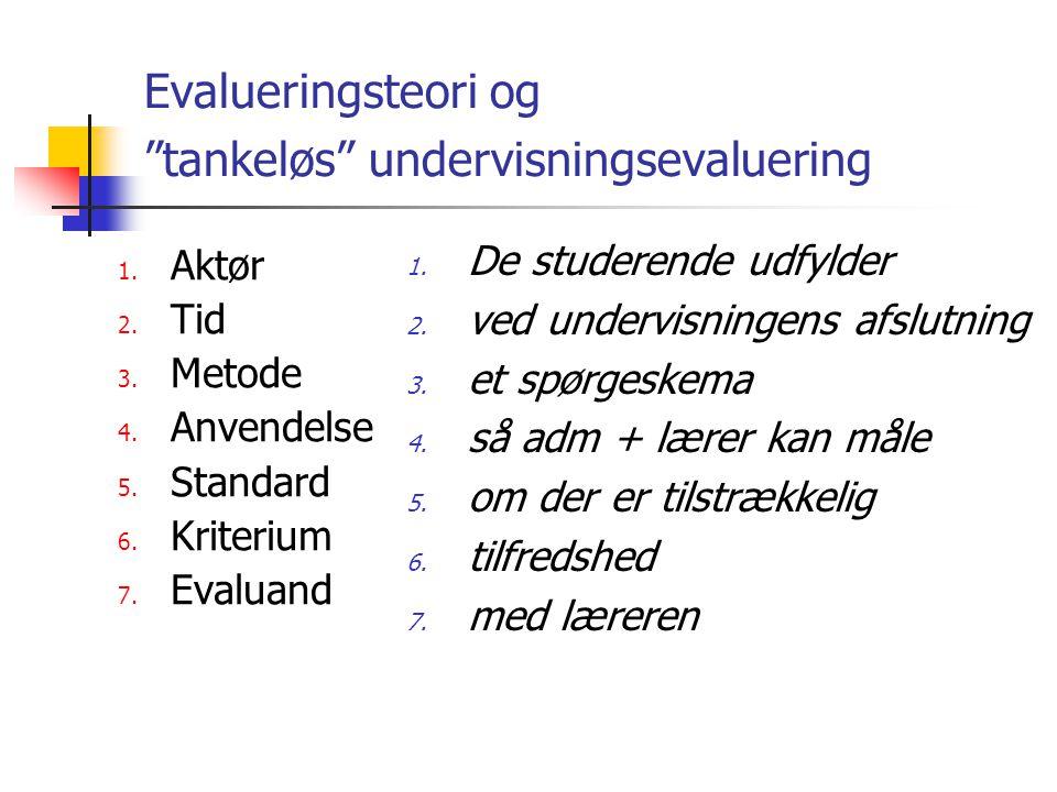 Evalueringsteori og tankeløs undervisningsevaluering 1.