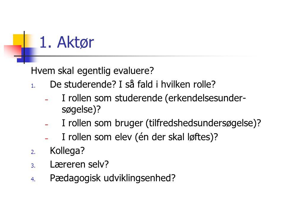 1. Aktør Hvem skal egentlig evaluere. 1. De studerende.