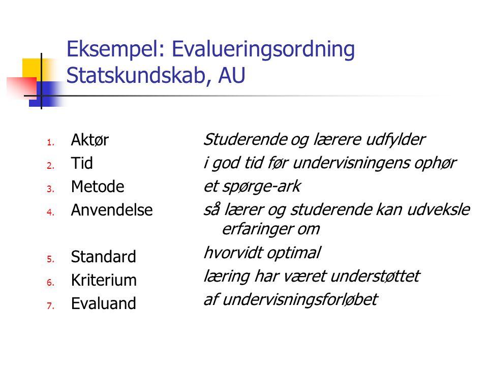 Eksempel: Evalueringsordning Statskundskab, AU 1. Aktør 2.