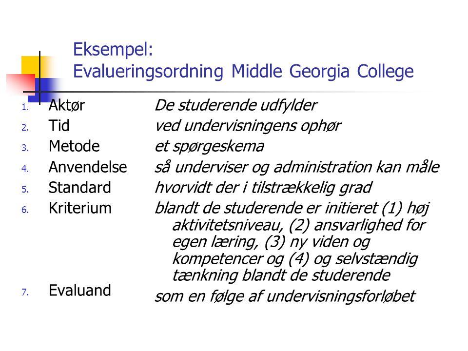 Eksempel: Evalueringsordning Middle Georgia College 1.