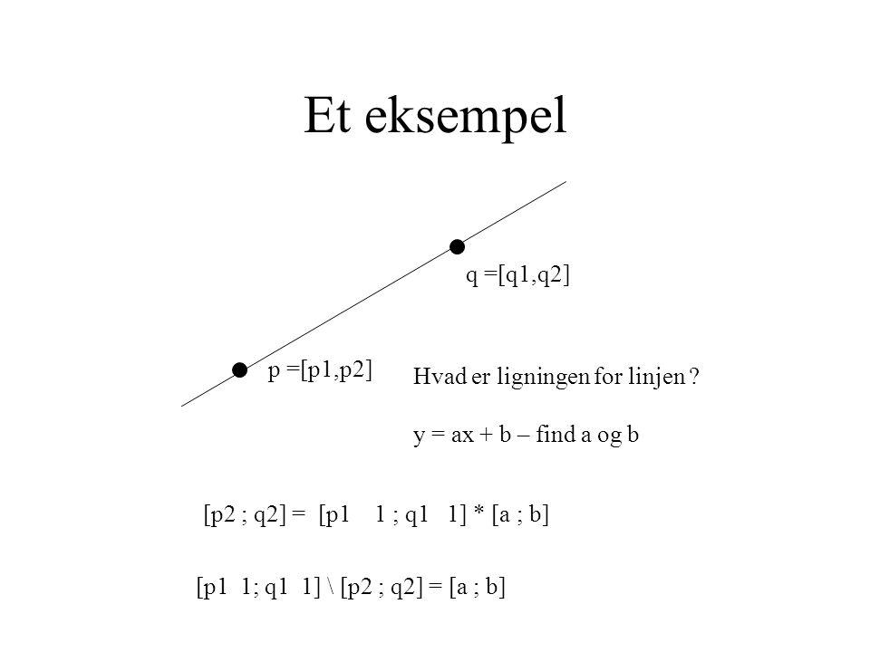 Et eksempel p =[p1,p2] q =[q1,q2] Hvad er ligningen for linjen .