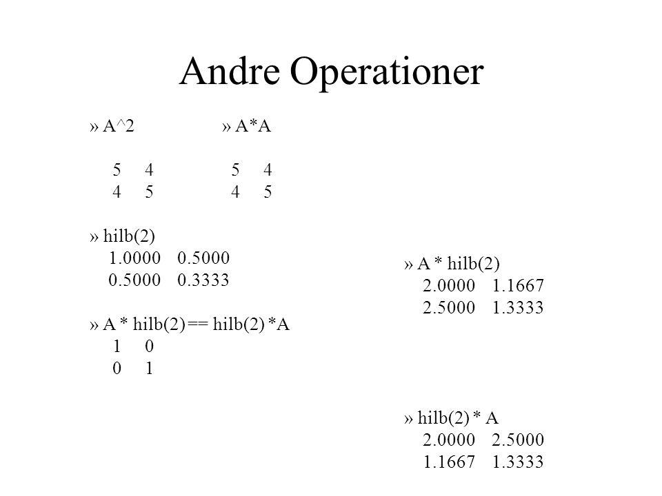 Andre Operationer » A^2» A*A 5 4 5 4 4 5 4 5 » hilb(2) 1.0000 0.5000 0.5000 0.3333 » A * hilb(2) == hilb(2) *A 1 0 0 1 » A * hilb(2) 2.0000 1.1667 2.5000 1.3333 » hilb(2) * A 2.0000 2.5000 1.1667 1.3333