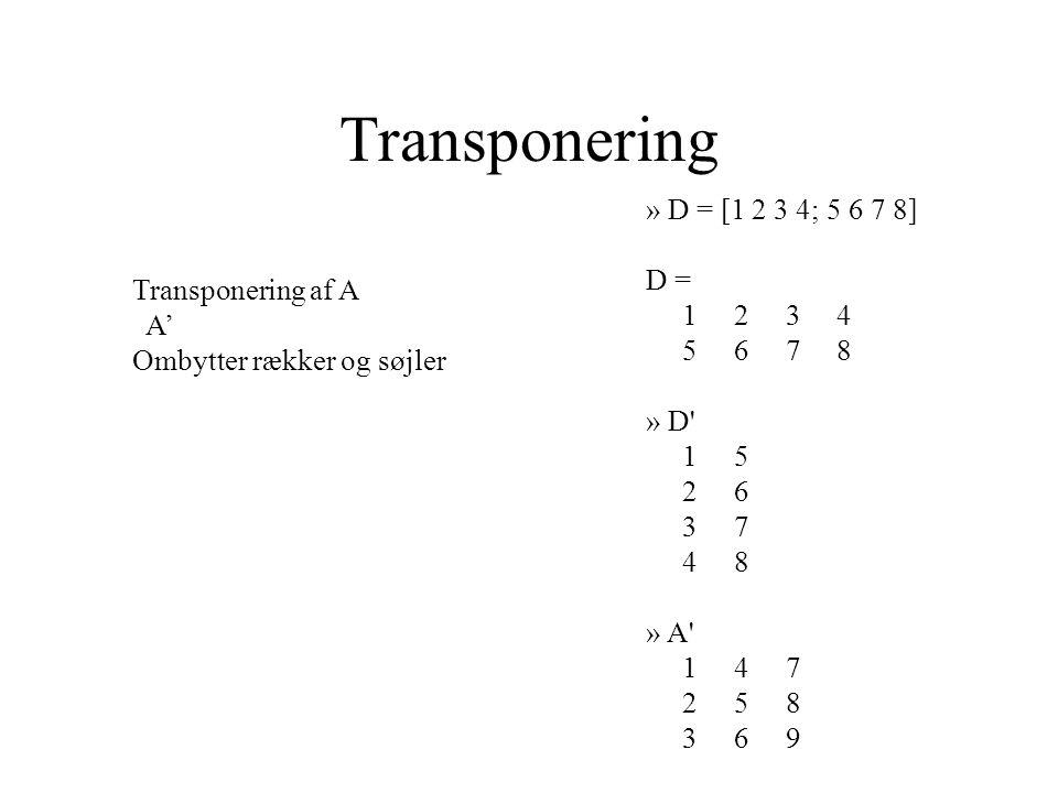 Transponering Transponering af A A' Ombytter rækker og søjler » D = [1 2 3 4; 5 6 7 8] D = 1 2 3 4 5 6 7 8 » D 1 5 2 6 3 7 4 8 » A 1 4 7 2 5 8 3 6 9